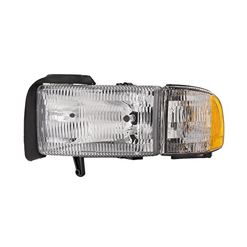 (HEADLIGHTSDEPOT Chrome Housing Halogen Headlight Compatible with Dodge Ram 1500 2500 3500 W/O Sport Includes Left Driver Side Headlamp)