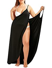 Plus Size Spaghetti Strap Cover Up Beach Backless Wrap Long Dress