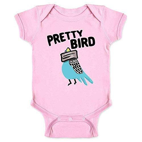 Pretty Bird Taped Head Funny Pink 6M Infant Bodysuit