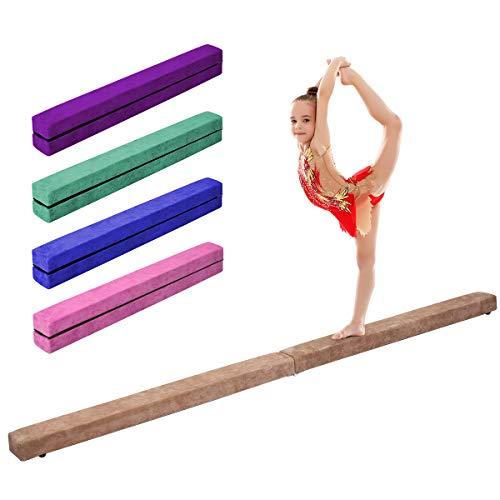 Giantex 7FT Folding Floor Balance Beam for Girls, Boys, Toddlers, Teens Sports Gymnastics Skill Performance Training Easy Storage (Coffee)