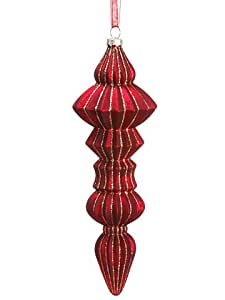 "7.25"" Glitter Mercury Glass Finial Ornament Red Gold (Pack of 12)"