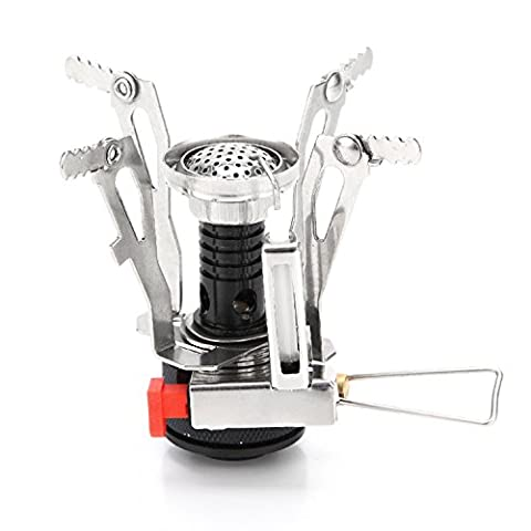 Camping Stove W Piezo Ignition Mini Gas Stove Windproof and Collapsible Camp Burner for Outdoor Backpacking (Butane/Butane Propane Canister - Ignition Stove