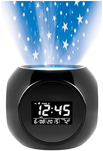 Sharper Image Digital LED Display Multi-function Star Projection Alarm Clock with Nature Sound Therapy by Sharpe Image