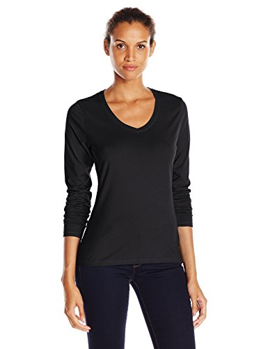 (Hanes Women's V-Neck Long Sleeve Tee, Ebony, Large)