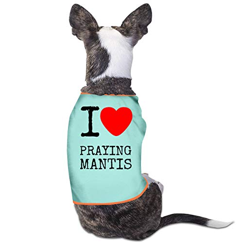 Jmirelife Puppy Dogs Shirts Costume Pets Clothing I Love Heart Praying Mantis Small Dog Clothes Vest -