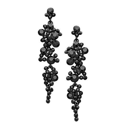 Rosemarie Collections Women's Crystal Rhinestone Bubble Dangle Statement Earrings (Black)