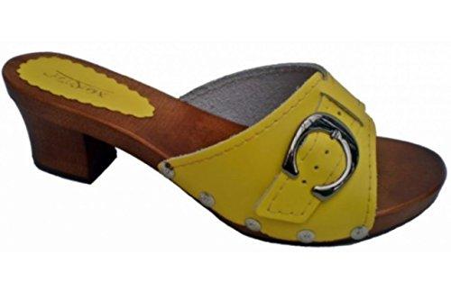 Marited' Zuecos de cuero mujer sandalias de cuero Amarillo