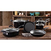 The Pioneer Woman Vintage Speckle 10-Piece Non-Stick Pre-Seasoned Cookware Set, BLACK | Classic Vintage Style 10-Piece Non-Stick Pre-Seasoned Cookware Set - BLACK