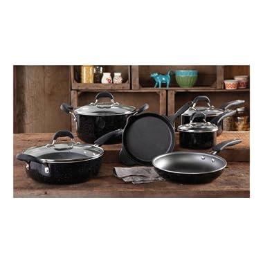 The Pioneer Woman Vintage Speckle 10-piece Non-stick Pre-seasoned Cookware Set, Black Dishwasher Safe …