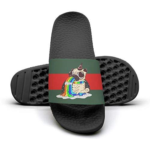 Lady Sandals Slides for red 1 Adorable Cute Yoga Kawaii Pug Summer green Rainbow and Woman Pug stripe Slippers Mules WvzqOcW6U