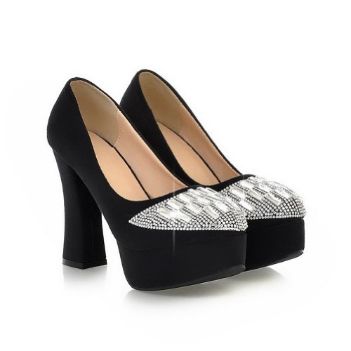 VogueZone009 Womans Closed Round Toe High Heel PU Frosted Solid Pumps with Rhinestones, Black, 5 UK