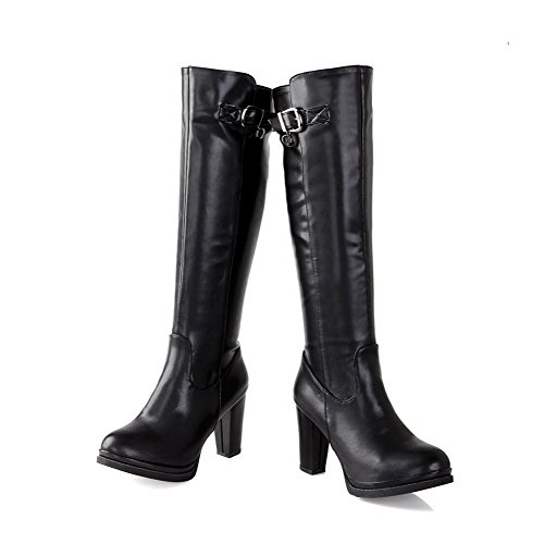 Chunky PU Womens with Metalornament Heels Boots PU Black M and Soft B Heels High 7 Solid AmoonyFashion Material US vwdHYY