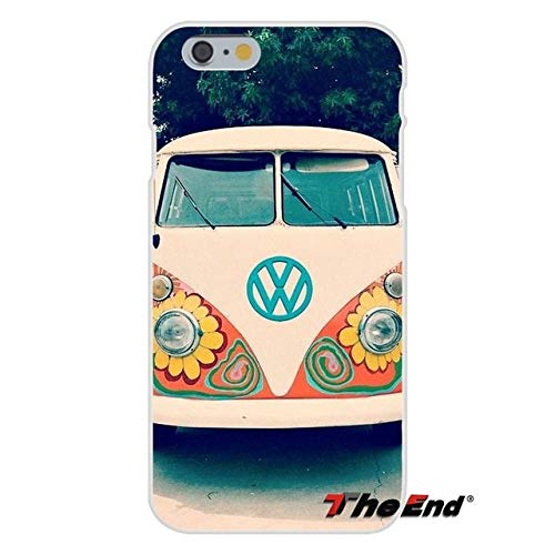 VW Bus iPhone 5 Case V W Van 5S Cover 5 SE Volkswagen Campers Classic VWBus Heritage Hippie Travel Hippy Yellow Flowers Pink Indie 50s 60s 70s Outdoors Themed, Plastic
