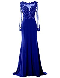 MACloth Women Long Sleeve Beaded Lace Mother of Brides Dress Formal Evening Gown