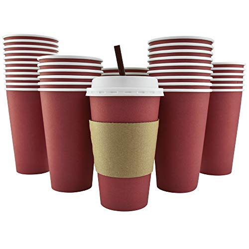 100 Pack - 16 Oz [12 Oz] [4 Colors] Disposable Hot Paper Coffee Cups, Lids, Sleeves, Stirring Straws - Cranberry Red
