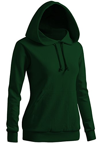 Green Perm - CLOVERY Women's Long Sleeve Pocket Pullover Hoodies Green Large
