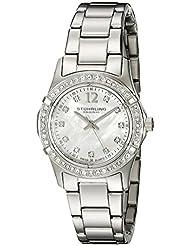 Stuhrling Original Women's 703B.01 Vogue Audrey Glimmer Swiss Quartz Swarovski Crystal White Mother-Of-Pearl Dial Watch