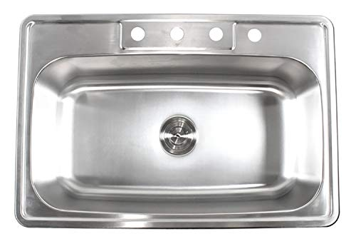 (33 Inch Top-mount/Drop-in Stainless Steel Single Bowl Kitchen Sink With 4 Faucet Holes - 18 Gauge )