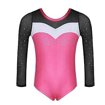 Moresave One-Piece Girls Stripes Gymnastics Leotards Ballet Dance Wear Athletic Bodysuit Costumes