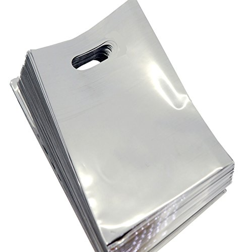 """Wholesale Lot of 90 Silver Metallic Plastic Shopping Bags for Packaging (7""""x11"""")"""