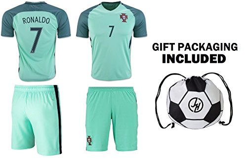 JerzeHero Portugal Ronaldo #7 Kids Youth Soccer Gift Set ✓ Soccer Jersey ✓ Shorts ✓ Soccer Ball Drawstring Bag ✓ Home or Away ✓ Short Sleeve or Long Sleeve (YL 10-13 yrs, Away Short Sleeve)
