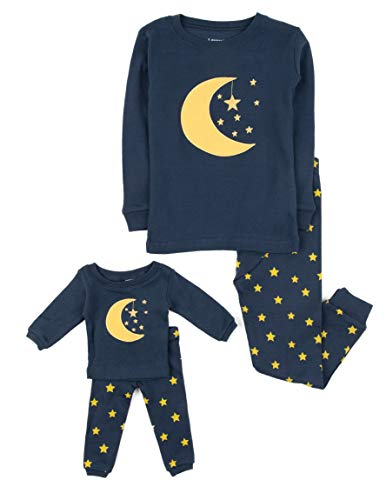 Leveret Moon & Stars Matching Doll & Girl 2 Piece Pajama Set 100% Cotton (5 Years) -