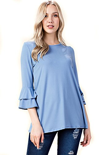 Betsy Red Couture Women's 3/4 Ruffled Sleeve Tunic (S-3X) (Denim Blue, L)