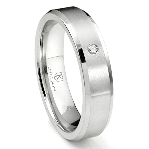 Cobalt XF Chrome 6MM Solitaire Diamond Brushed Wedding Band Ring w/Beveled Edges Sz (Scott Kay Diamond Band)