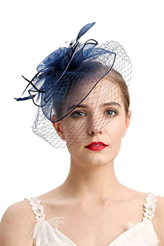Fascinators Hats 20s 50s Hat Pillbox Hat Cocktail Tea Party Headwear with Veil for Girls and Women(D-navy)