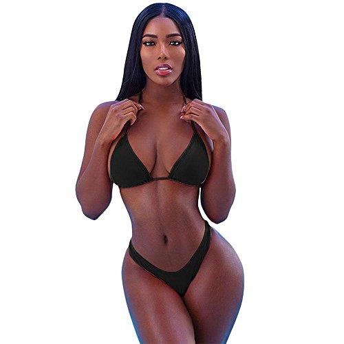 Aolvo femmes Ensemble bikini pour femme 2pièces Triangle Bikini Halter Bikini Maillot de bain Ensembles avec coussinet d'épaule sans Armature