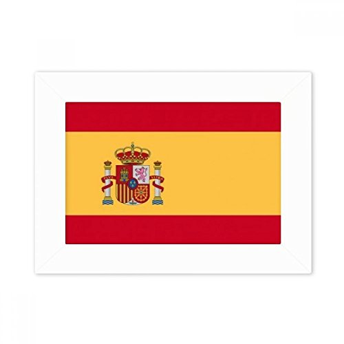 DIYthinker Spain National Flag Europe Country Desktop Photo Frame White Picture Art Painting 5x7 inch by DIYthinker