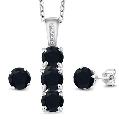 Gem Stone King 2.35 Ct Round Black Onyx White Diamond 925 Sterling Silver Pendant Earrings Set