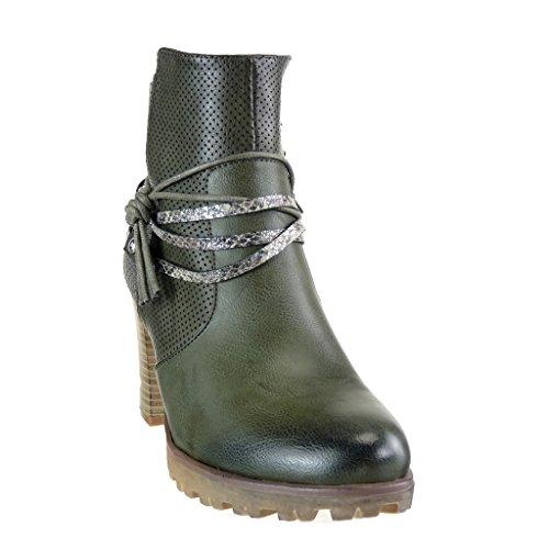 Angkorly - Chaussure Mode Bottine cavalier effet vieilli plateforme femme peau de serpent perforée lanière Talon haut bloc 8 CM - Vert