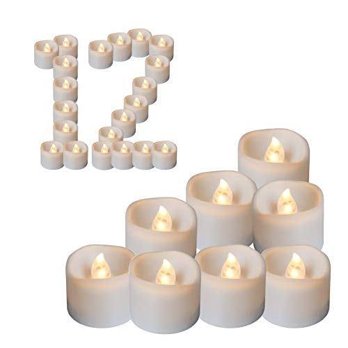 Youngerbaby 12pcs Warm White Flickering Flameless Candles LED Tea Lights Candles Timer, 6 Hours on 18 Hours Off in 24 Hours Cycle, Battery Powered Candles Wedding, Party Birthday