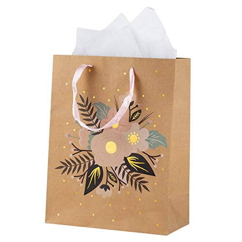 - Wedding Gift Bags – 12-Pack Treat Bags with Handles – Includes 20 Tissue Paper Sheets - Goodie Bags for Retail, Gifts, Party Favors, Vintage Floral Design with Gold Foil, Large, 13 x 10 x 5.1 Inches