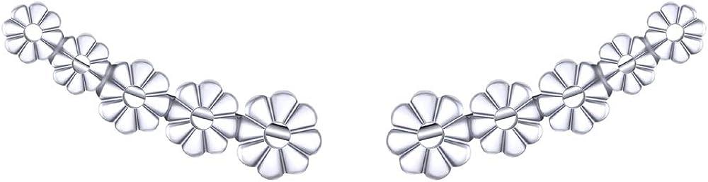 925 Sterling Silver Earrings, BoRuo Daisy Flower Hawaiian Earrings