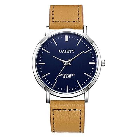 Forthery Men Fashion Round Dial Analog Quartz PU Leather Strap Wrist Watch (Khaki) (Geneva See Through Watch)