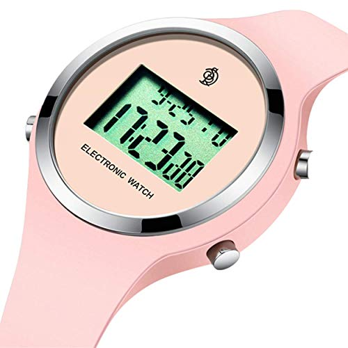 Digital Jelly Sport 5 (Watch,Girls Digital Jelly Watch Elegant Sports Waterproof Watch,Simple Cute Wrist Watches with Alarm Stopwatch Outdoor LED Multi Functional Wrist Watches (Pink))