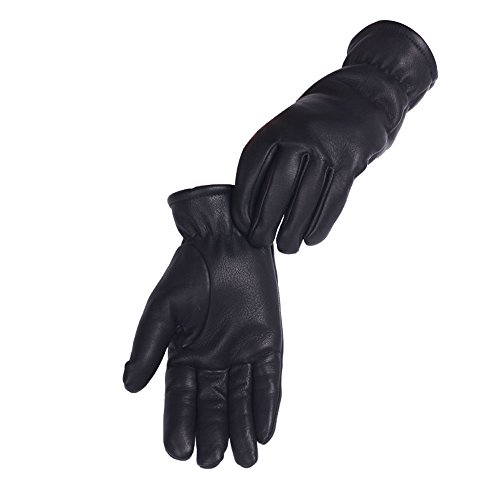 YEGO Luxury Deer Skin Leather with Lining 3M Thinsulate ISOLANT Winter Gloves,Excellent for Cycling,Driving,Running,Ski,Men and Women One Pair in Fabric Bag Package(Black, L) (Celine Fashion House)