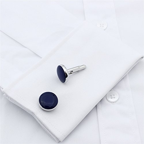 Tone Accessories blue Mens Dress For Round Studs And Wedding Business Shirt Tuxedo Cufflinks silver Set Hawson 4 Sdav5PwSxq