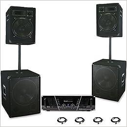 Sistema de Altavoces Satélite PA 3200 W Amplificador Subwoofer Bafles DJ-592: Amazon.es: Libros