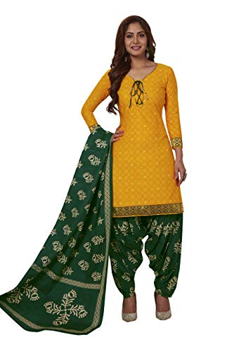Miraan Women's Cotton Unstitched Dress Material (BAND1217, Yellow, Free Size)