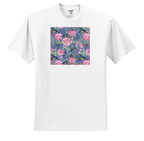 Uta Naumann Watercolor Illustration Flowers - Vintage Watercolor Roses With Hummingbirds In Blue - T-Shirts - Youth T-Shirt XS(2-4) (Hummingbird Rose T-shirt)