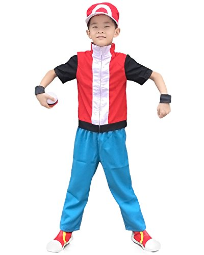[Miccostumes Boy's Pokemon Cosplay Costume Red (child medium)] (Cosplay Costumes For Boys Kids)