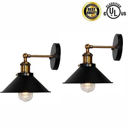 ight Wall Lamp Wall Mount E26 Base Black Wall Industrial Vintage Edison Lamp Fixture Steel Finished for Indoors Bedroom Lighting (Hardwired X2 Sets) (Finished Wall Lamp)