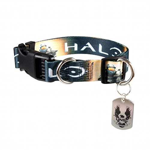 Dog Halo Costume (Halo UNSC Nylon Webbing Rugged Pet Dog Collar with UNSC Metal Charm Small)