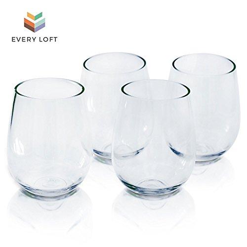 Every Loft Stemless Unbreakable Wine Glass, Tritan Plastic, BPA-Free, Dishwasher-Safe, 16-Ounce, Set of 4 - 16 Oz Stemless Wine Glass