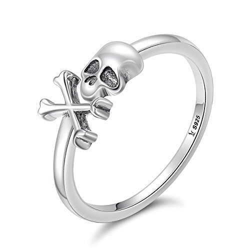 WOSTU Fashion Silver Rings 925 Sterling Silver Gothic Skull Rings Adjustable Rings Eternity Bands (Skull Adjustable Ring)