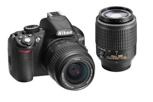 Nikon D3100 14.2MP Digital SLR Double-Zoom Lens Kit with 18-55mm and 55-200mm DX Zoom Lenses (Black) (Discontinued by Manufacturer) ()
