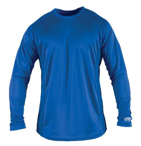Rawlings Boy's Long Sleeve Baselayer Shirt, Royal, Large